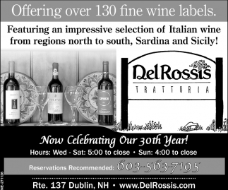Offering Over 130 Fine Wines Labels