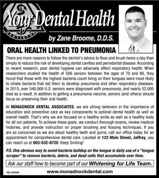 Oral Health Linked TO Pneumonia