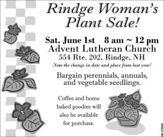 Rindge Woman's Plant Sale!