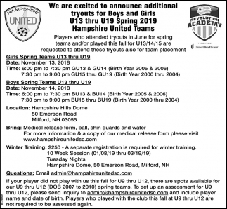 We Are Exited To Announce Additional Tryouts For Boys And Girls