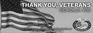 Thank You, Veterans We Honor You
