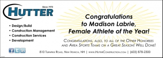 Congratulations To Madison Labrie