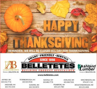 Hy Thanksgiving Belletetes Building Product Specialist Jaffrey Nh
