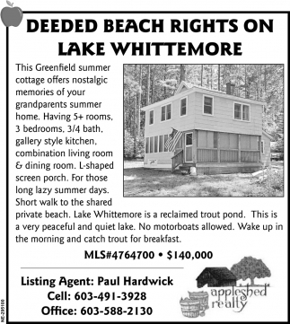 Deeded Beach Rights On Lake Whittemore