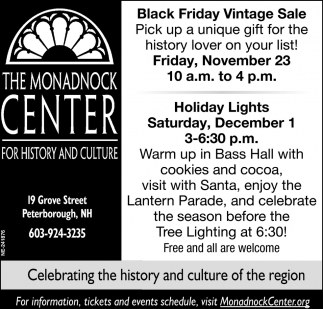 Black Friday Vintage Sale, The Monadnock Center For History And Culture,  Peterborough, NH