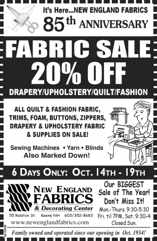 Fabric Sale 20% Off