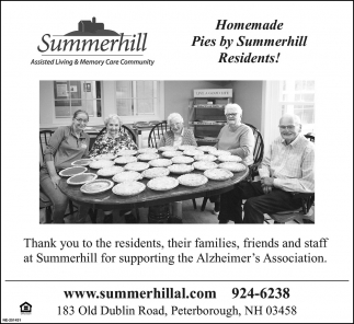Homemade Pies By Summerhill Residents!