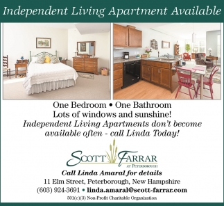 Independent Living Apartment Available