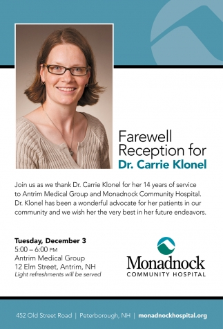 Farewell Reception For Dr. Carrie Klonel