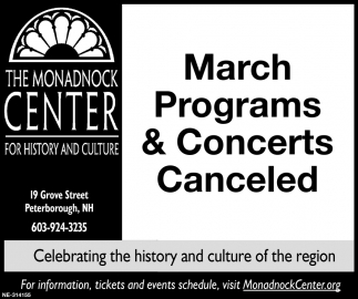 March Programs & Concerts Canceled