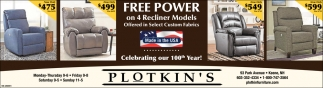 Free Power On 4 Recliner Models